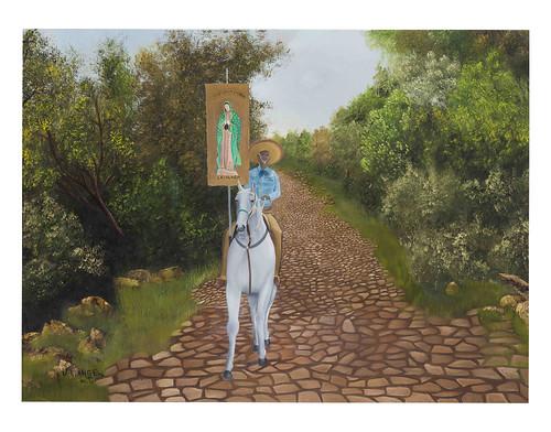 Autor: MIGUEL ANGEL LOPEZ TINOCO, Cabalgata a La Virgen de Guadalupe  80x110 cm