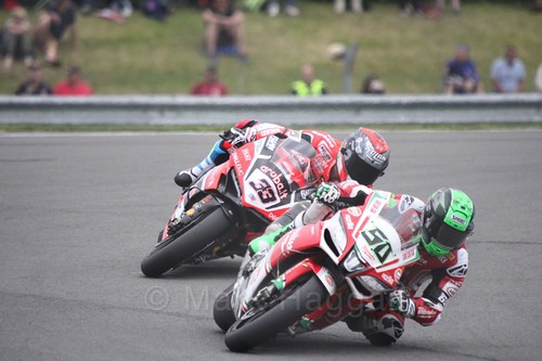 Eugene Laverty leads Marco Melandri in World Superbikes at Donington Park, May 2017