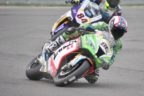 Ayrton Badovini leads Riccardo Russo in World Superbikes at Donington Park, May 2017