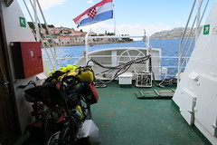 On a ferry with bicycles