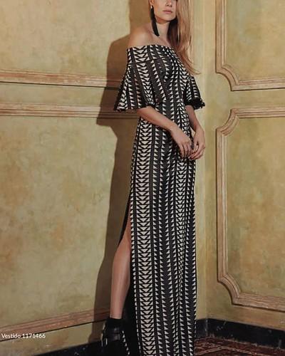 Vestido longo de tricot Regina Salomão