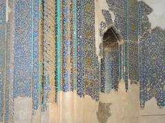 Cracking tiles of Tabriz Blue mosque under restoration, Iran