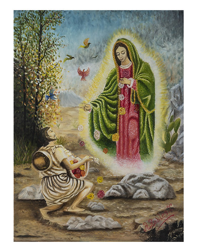 Autor: ROGELIO ROBLES TORRES, Aparición a Juan Diego  50x60 cm