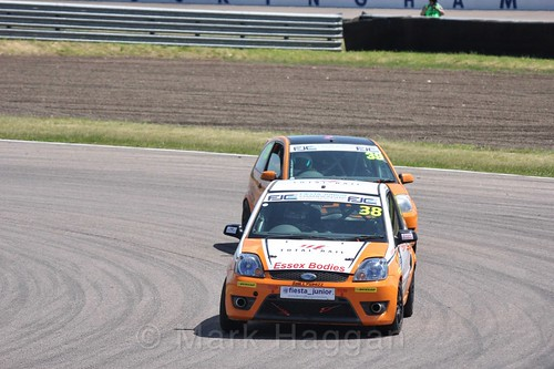 Bradley Kent and Jamie-Lea Hawley in the Fiesta Junior championship at Rockingham, June 2017