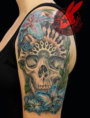 Skull Mandalla Realistiv Lily flower daffodil Blue Sleave 3d Tattoo by Jackie Rabbit