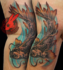 Koi Fish Japanese Pretty Frminine Swimming Fins Elegant Color Woman Realistic 3D Tattoo by Jackie Rabbit