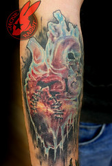 Healed Ice Frozen Heart Anatomical Broken Stiched Realistic Color  3d Tattoo by Jackie Rabbit