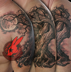 Family Tree Realistic Oak Moon Creepy Real 3D Sleeve Branches Tattoo by Jackie Rabbit