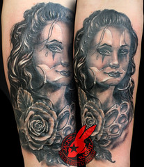 Portrait Clown Face Vato Vata Chola Rose Tattoo by Jackie Rabbit