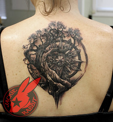 Tree of Life Compass Jem Jewel Circle Black and grey realistic Tattoo by Jackie Rabbit