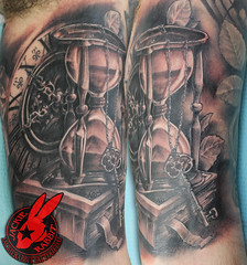 Hour Glass Book Key Clock Watch Black and Grey Realistic 3D tattoo by Jackie Rabbit