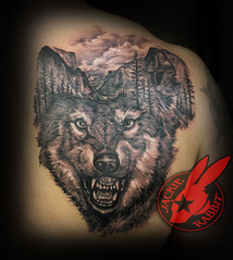 Realistic 3d Wolf Dog Portrait Animal Mountain Scene Yosemite National Park Trees Morph Back Tattoo by Jackie Rabbit