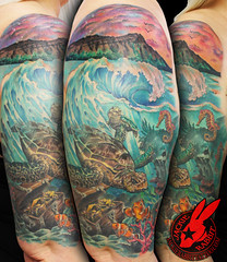 Ocean Water  Sea Turtle Finding Nemo Wave Beach Seahorse  Sleeve 3d Tattoo Color Realistic Fish Under Water by Jackie Rabbit