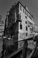 Venice-canal-Italy-bw