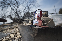 A tri-colored Donald Trump bust is found half-melted in what was formerly the garage of a house in Sonoma County, California. The house was completely burnt down by the fire that devastated Sonoma, Napa and Santa Rosa, October 17, 2017.
