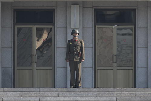 A North Korean soldier stands guard in the border village of Panmunjom between South and North Korea at the Demilitarized Zone (DMZ) on October 14, 2017 in Panmunjom, South Korea