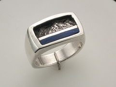 The Rockies SS & lapis gent rectangular cushion ring