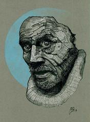 Old man, china e pastello, 2017