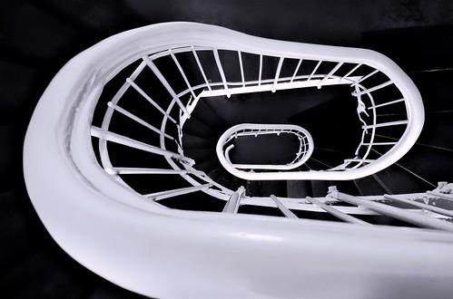 stairs white black fence moto xforce motorola bw