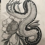 More homework ready to go. This would look good on a thigh unless you wanna give me your whole back  Thankyou for looking 🙏 #snake #peony #japanese #blackandgreytattoo