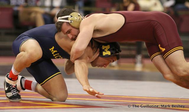 157: No. 5 Alec Pantaleo (Michigan) dec. No. 19 Jake Short (Minnesota) 5-2. 180121AMK0037