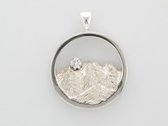 Custom Continuum Silver & Diamond Rockies Pendant