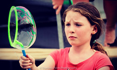 Serious about her bubble making