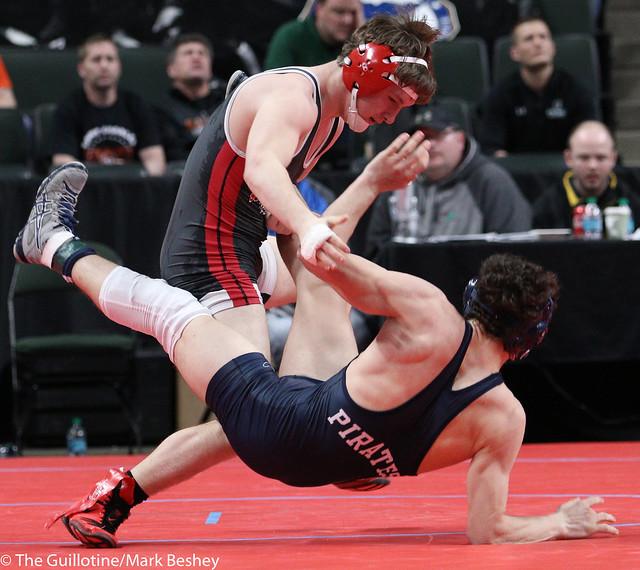 145A Quarterfinal - Lukas Meier (Crookston) 36-9 won by decision over Tyler Spolarich (Aitkin) 33-15 (Dec 12-6) - 180302cmk0030