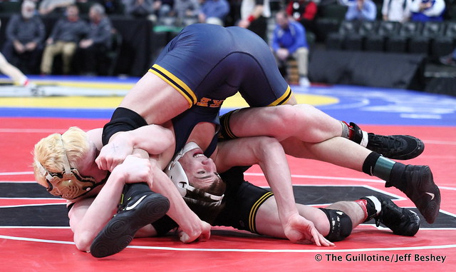 Semifinal - Brady Gross (Apple Valley) 43-8 won by fall over Curtis Lemair (Prior Lake) 39-4 (Fall 4:20). 180303AJF0287