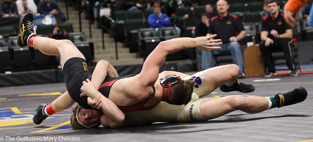 1st Place Match - Cade Mueller (Waconia) 49-5 won by decision over Peyton Mortenson (Dawson-Boyd-Lac Qui Parle) 41-3 (Dec 5-1). 180303CMC6997
