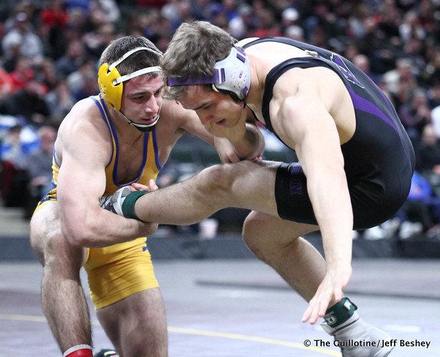 1st Place Match - Trey Rogers (Hastings) 49-0 won by major decision over Jacob Scherber (Buffalo) 34-2 (MD 17-7). 180303CJF0726