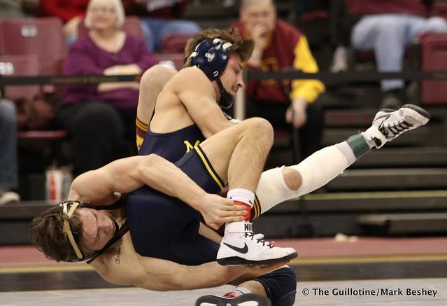 133: No. 5 Stevan Micic (Michigan) fall No. 12 Mitch McKee (Minnesota) 4:13. 180121AMK0189