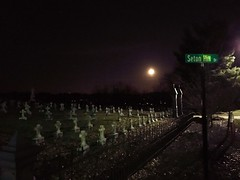 Supermoon over Seton Hill Cemetery