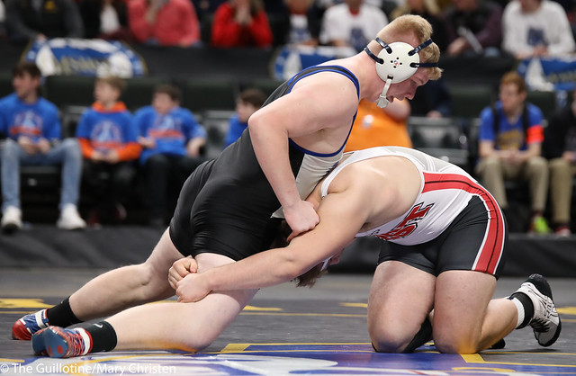 1st Place Match - Zachary Jakes (Mankato West) 41-0 won by decision over Mitch Trigg (Foley) 47-3 (Dec 8-7). 180303CMC7482