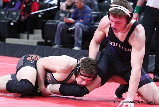 Semifinal - Austin Brenner (Saint Cloud Tech) 44-4 won in sudden victory - 1 over Riley Habisch (Buffalo) 32-6 (SV-1 3-1). 180303AJF0495