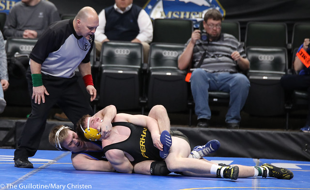 Semifinal - Patrick Kennedy (Kasson-Mantorville) 30-0 won by tech fall over Zach Peterson (Perham) 46-3 (TF-1.5 3:43 (17-2)). 180303AMC5412