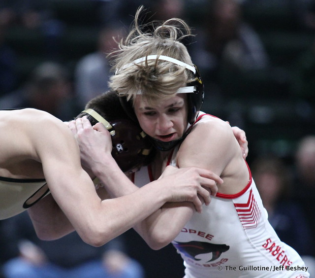 1st Place Match - Joey Thompson (Maple Grove) 46-0 won by decision over Paxton Creese (Shakopee) 45-2 (Dec 6-3). 180303CJF0001
