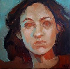 Ritratto di donna, olio su tela, 30x30 cm, 2018