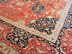 Famous red Persian rug at Tabriz museum in Iran