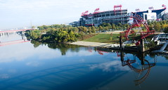 Nissan Stadium and the Cumberland River