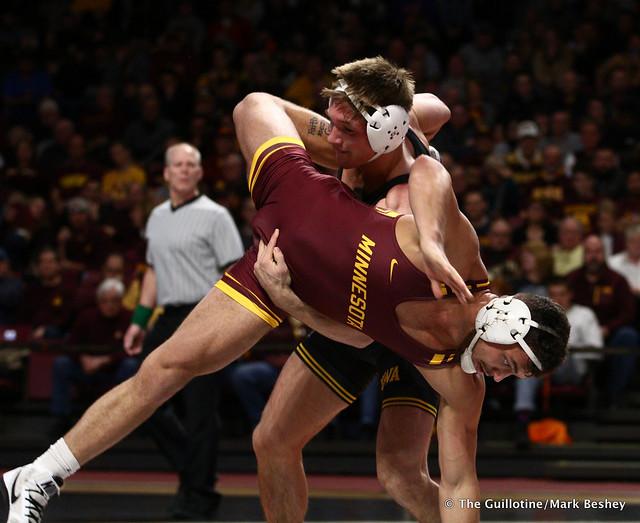 184 #14 Cash Wilcke (Iowa) dec. Brandon Krone (Minnesota) 9-2. 190113AMK0104