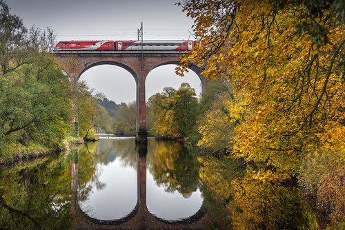 LNER London-bound train crossing Croxdale Viaduct, Durham