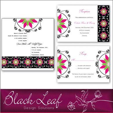 Black Wedding Card Set