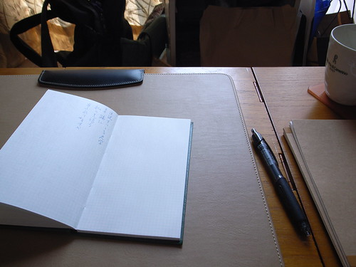 Field note on a desk
