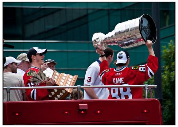 Blackhawks Patrick Kane Hoisting Stanley Cup