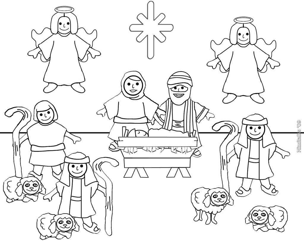 Letter Size Nativity Color Page For Personal Use Only