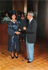 My receiving my high school diploma from some guy I didn't know even then
