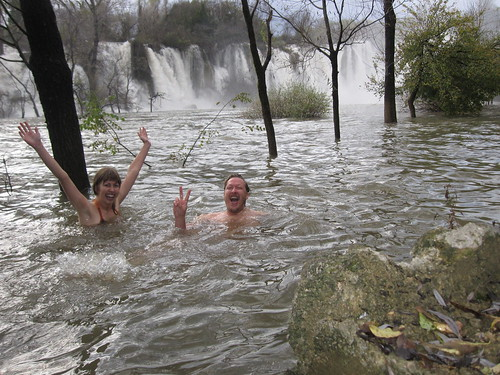 Swimming in a flooded lake on Bata's famous tour