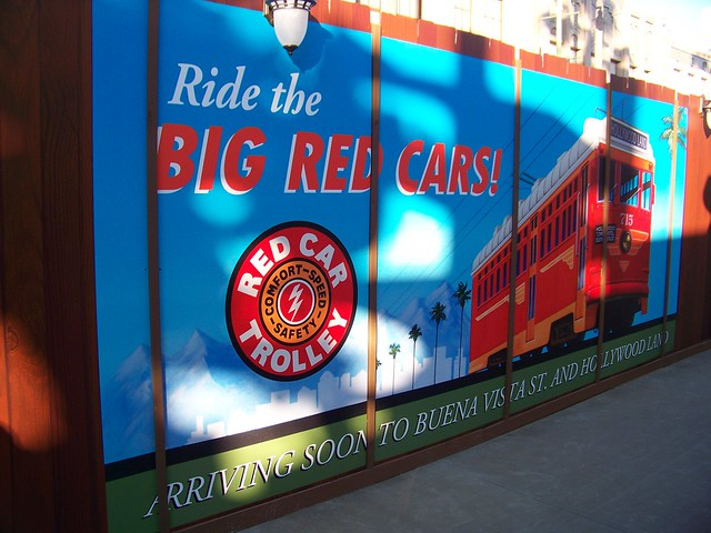 Red Car Trolley construction walls at Hollywood Pictures Backlot