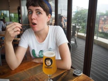 Rosanna enjoying the IPA and free pretzels